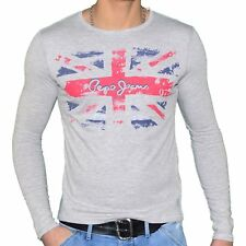 PEPE JEANS - T SHIRT MANCHES LONGUES - HOMME - HEWRING - GRIS NEUF