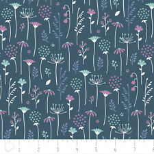Ethereal Floral Midnight Flowers Fall Purple/Blue Quilting Craft Cotton Fabric