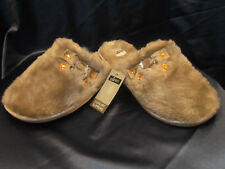 BRAND NEW LADIES WOMENS LUXURY PLUSH DESIGN BEIGE MULE SLIPPERS WITH  BOW SIZE 6