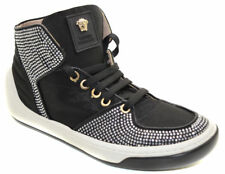 YOUNG VERSACE YSF0459 BLACK LEATHER HIGH TOP LACE UP SHOES_New Arrival