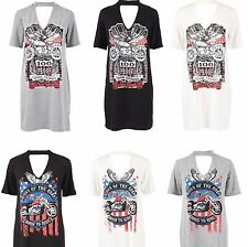 NUOVO Donna Live fast ride FINO A WE DIE top stampato COLLO GIROCOLLO