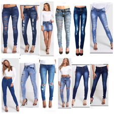 UK Women Celeb Ripped Frayed Ladies Denim MNG Boyfriend Angie Jeans CAPRI UK