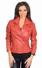 Trendy womens fitted biker style leather jacket latest stylish RED zipper coat