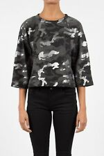 Crop top sweat pull camouflage gris Sixth June Femme