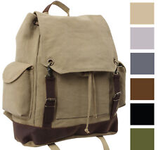 Military Rucksack Canvas Backpack Large Knapsack Vintage Bag School Bookbag