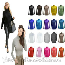 WOMENS LONG SLEEVES POLO NECK STRETCH TOP LADIES TURTLE NECK JUMPER SIZES 8-26