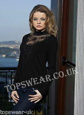 Women Black Embroidery And Mesh Long Sleeved Top