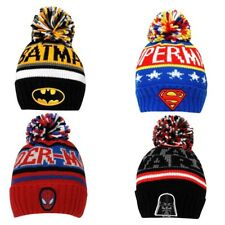 Official BATMAN STARWARS SUPERMAN SPIDERMAN POMPOM BEANIE BOBBLE TOQUE HAT NEW