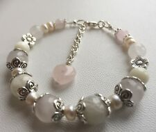 Fertility/Pregnancy/PCOS/Menopouse Bracelets Moonstone Rose Quartz Aquamarine