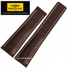 NEW QUALITY LEATHER WATCH STRAP FOR BREITLING WATCHES 22 24MM BLACK BROWN BLUE