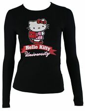 Hello Kitty camiseta de mujer en negro mod.9023 manga larga