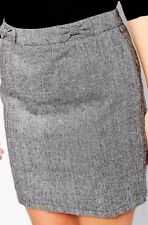 New Womens Sugarhill Boutique Katie Pencil Skirt Bow Sparkle Grey UK 12 14 16