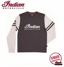 GENUINE INDIAN MOTORCYCLE BRAND WRECKING CREW LONG SLEEVE T-SHIRT TEE GRAY