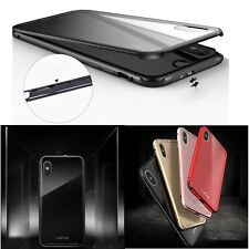 Luphie Aluminum Metal Bumper Frame Thin Back Clear Glass Cover Case For iPhone X