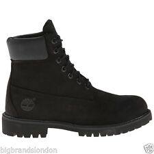 Timberland 6 Inch Premium Black Leather Womens Mens Boots_8658A W