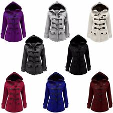 WOMENS FLEECE JACKET LADIES DUFFLE LOOK TOGGLE HOODED POCKET COAT PLUS SIZE 8-22