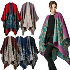 Women Winter Knitted Poncho Capes Shawl Cardigans Sweater Coat Outerwear U0C1