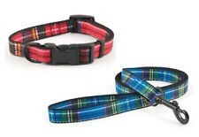 Ancol Dog Puppy Nylon Traditional TARTAN Collar or Lead Red Blue (Various Sizes)