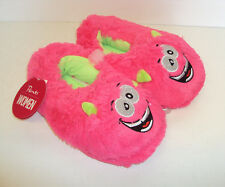 Ladies Girls Novelty Cosy Gift Slippers Monster Pink New Sizes 2-3, 4-5, 6-7