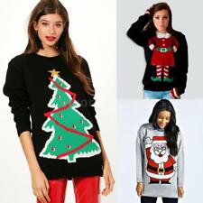 Womens Casual Christmas Santa Tree Elf Knitted Sweaters Jumper Pullover NEW K8C8