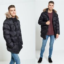 NEW BRAVE SOUL DESIGNER MENS QUILTED PARKA JACKET FUR HOODED PADDED WINTER COAT