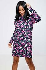 Fashion Union Womens Floral High Neck Dress - All Over Print Keyhole Back - Pink