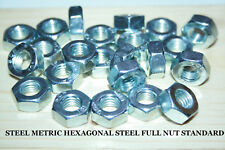 M6 M8 M10 M12 HEXAGONAL STEEL STANDARD FULL NUTS PITCH BRIGHT ZINC PLATED DIN934