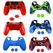 Silicone Rubber Soft Skin Gel Cover Case for Playstation 4 PS4 Controller +Grip