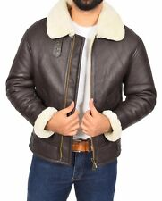 Mens Real Sheepskin Brown Flying Leather Jacket White Shearling B3 Bomber Coat