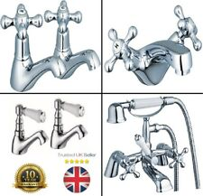 Basin Sink Taps Ceramic Lever Victorian Traditional Hot & Cold tap Pair chrome