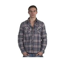 "Men's Shirt - Pepe Jeans ""Combe"" Casual Check Lumber Shirt Hoodie Blue/Red - New"