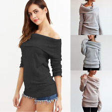 Women One Shoulder Long Sleeve Shirred Sweater Jumper Casual Tops Pullover S-XXL