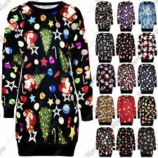 New Womens Christmas Fleece Long Sleeve Knitwear Baggy Jumper Shift TShirt Dress