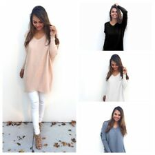 Women Long Sleeve V Neck Knitting Sweater Casual Loose Pullover Cardigans Jumper