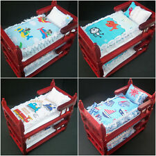 Handmade Miniature 1/12th scale dolls house BEDDING for BUNK BED - various..