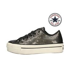 CONVERSE ALL STAR ct platform ox scarpe donna bambina zeppa brillantinata 559047
