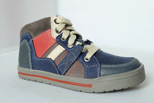 Clarks Boys Boots BEVEN FREE Navy Leather Sport Style Lace Up Zip