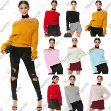 New Women Ruffle Frill Bardot Off The Shoulder Ribbed Knitted Cropped Jumper Top
