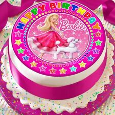 BARBIE & HER POODLE PINK PRECUT EDIBLE HAPPY BIRTHDAY CAKE TOPPER DECORATION
