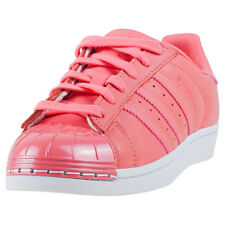 adidas Superstar Metal Toe Womens Pink Leather Casual Trainers Lace-up