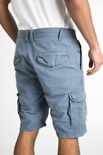 Threadbare Mens Fargo Cotton Utility Shorts with Zip Fly and Button Fastening