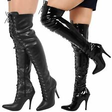 MENS LACE UP OVER KNEE THIGH HIGH SEXY STILETTO HEEL FETISH BOOTS NEW SIZE 9-12