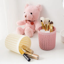 Stationary office make up brush basket storage box home desk plastic rattan like