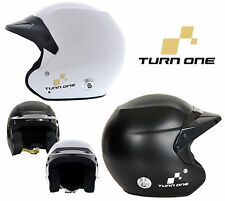 Turn One jet-rs ABIERTO Rally Casco FIA 8859-2015 Aprobado Blanco/Negro, S-XL