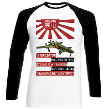 KYUSHU J7W1 SHINDEN - NEW BLACK SLEEVED BASEBALL COTTON TSHIRT