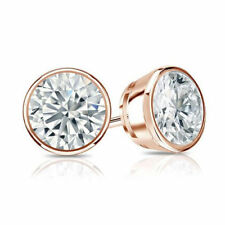 Brillant- Diamantohrstecker 2.00 Karat D/SI1 Diamanten, 585/14K Roségold