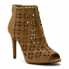 MICHAEL Michael Kors Womens Ivy Leather Open Toe Ankle Fashion Boots
