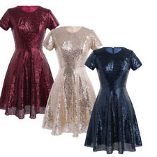 Women Shiny Sequin Bridesmaid Ball Gown Formal Prom Cocktail Evening Party Dress
