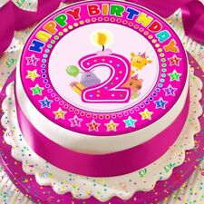 CANDLE AGE 2 2ND BIRTHDAY PINK 7.5 INCH PRECUT EDIBLE CAKE TOPPER DECORATION