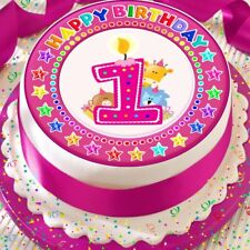 CANDLE AGE 1 1ST BIRTHDAY STARS 7.5 INCH PRECUT EDIBLE CAKE TOPPER DECORATION